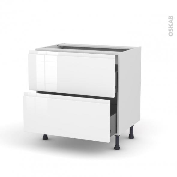 Meuble de cuisine - Casserolier - IPOMA Blanc brillant - 2 tiroirs - L80 x H70 x P58 cm