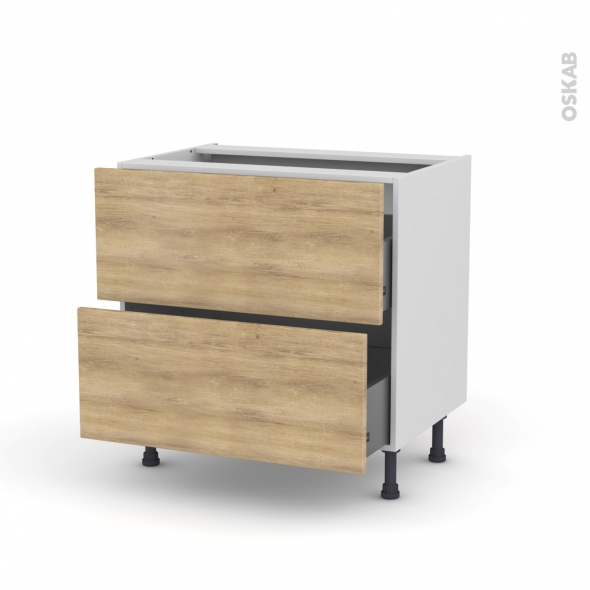 Meuble de cuisine - Casserolier - HOSTA Chêne naturel - 2 tiroirs - L80 x H70 x P58 cm