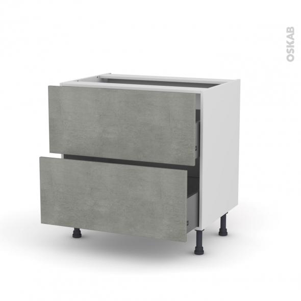 Meuble de cuisine - Casserolier - FAKTO Béton - 2 tiroirs - L80 x H70 x P58 cm