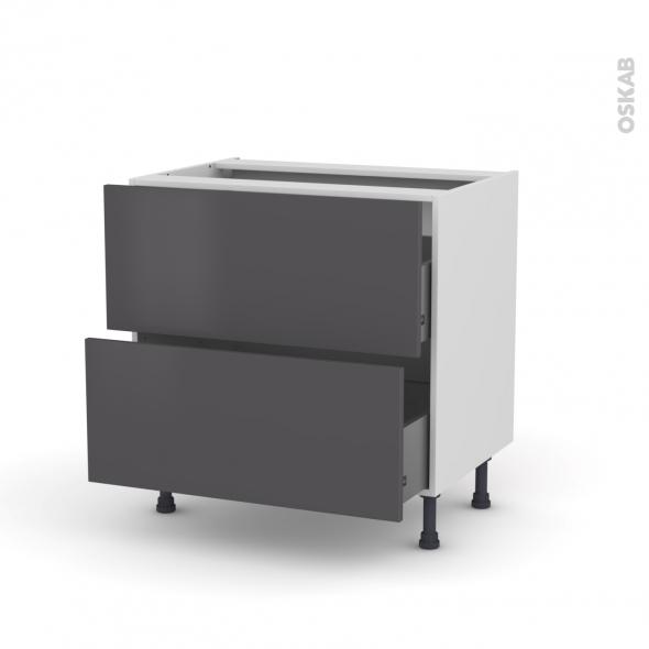 Meuble de cuisine - Casserolier - GINKO Gris - 2 tiroirs - L80 x H70 x P58 cm