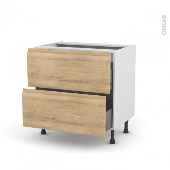 Meuble de cuisine - Casserolier - IPOMA Chêne naturel - 2 tiroirs - L80 x H70 x P58 cm