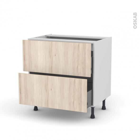 Meuble de cuisine - Casserolier - IKORO Chêne clair - 2 tiroirs - L80 x H70 x P58 cm