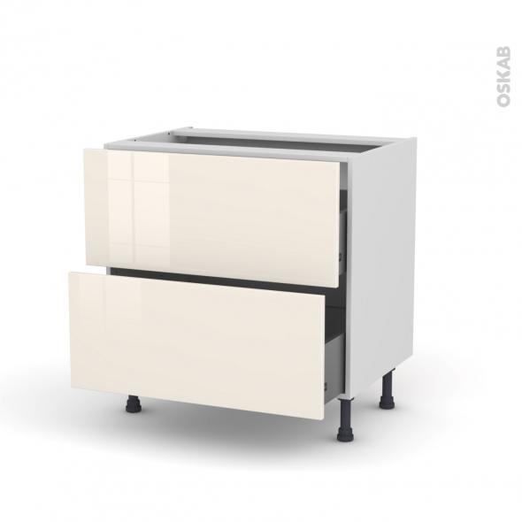 Meuble de cuisine - Casserolier - KERIA Ivoire - 2 tiroirs - L80 x H70 x P58 cm