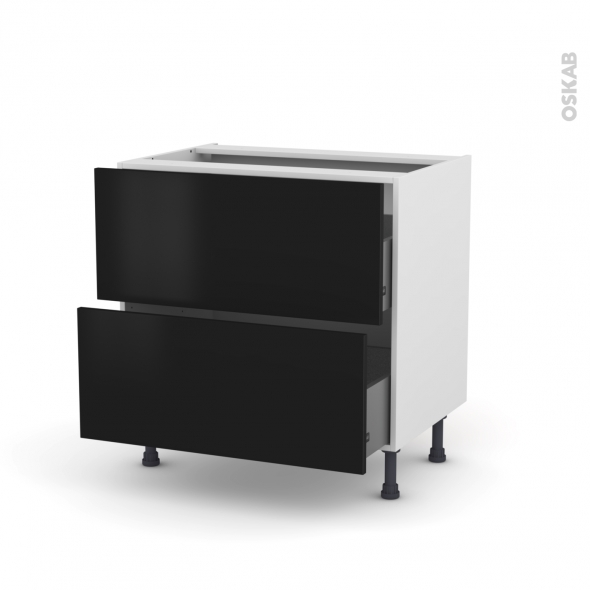Meuble de cuisine - Casserolier - GINKO Noir - 2 tiroirs - L80 x H70 x P58 cm