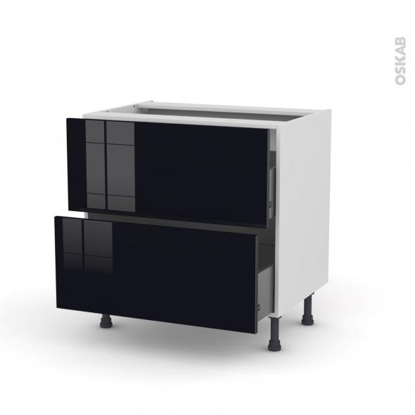 Meuble de cuisine - Casserolier - KERIA Noir - 2 tiroirs - L80 x H70 x P58 cm
