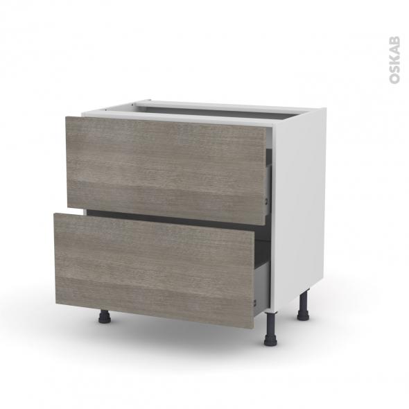 STILO Noyer Naturel - Meuble casserolier  - 2 tiroirs - L80xH70xP58
