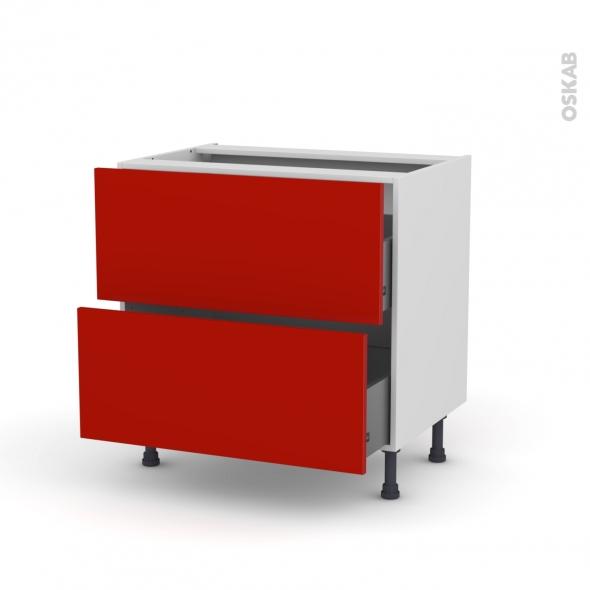 GINKO Rouge - Meuble casserolier  - 2 tiroirs - L80xH70xP58