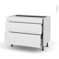 Meuble de cuisine - Casserolier - GINKO Blanc - 3 tiroirs - L100 x H70 x P58 cm