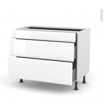 Meuble de cuisine - Casserolier - IRIS Blanc - 3 tiroirs - L100 x H70 x P58 cm