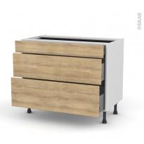 Meuble de cuisine - Casserolier - HOSTA Chêne naturel - 3 tiroirs - L100 x H70 x P58 cm