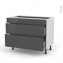 Meuble de cuisine - Casserolier - GINKO Gris - 3 tiroirs - L100 x H70 x P58 cm