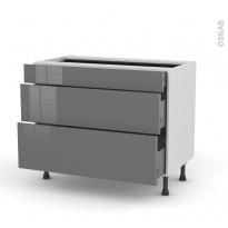 Meuble de cuisine - Casserolier - STECIA Gris - 3 tiroirs - L100 x H70 x P58 cm