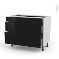 Meuble de cuisine - Casserolier - GINKO Noir - 3 tiroirs - L100 x H70 x P58 cm