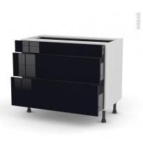 Meuble de cuisine - Casserolier - KERIA Noir - 3 tiroirs - L100 x H70 x P58 cm