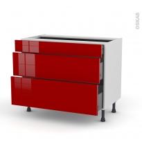 Meuble de cuisine - Casserolier - STECIA Rouge - 3 tiroirs - L100 x H70 x P58 cm