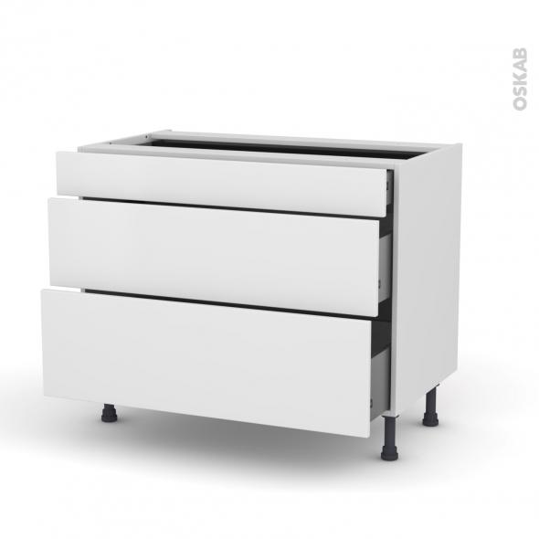 GINKO Blanc - Meuble casserolier - 3 tiroirs - L100xH70xP58