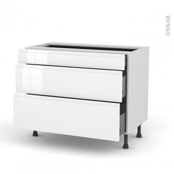 Meuble de cuisine - Casserolier - IPOMA Blanc brillant - 3 tiroirs - L100 x H70 x P58 cm