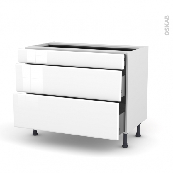IRIS Blanc - Meuble casserolier - 3 tiroirs - L100xH70xP58