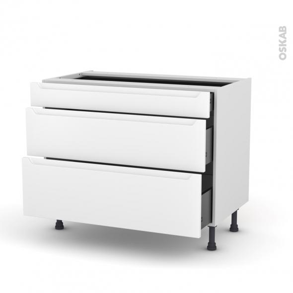 Meuble de cuisine - Casserolier - PIMA Blanc - 3 tiroirs - L100 x H70 x P58 cm