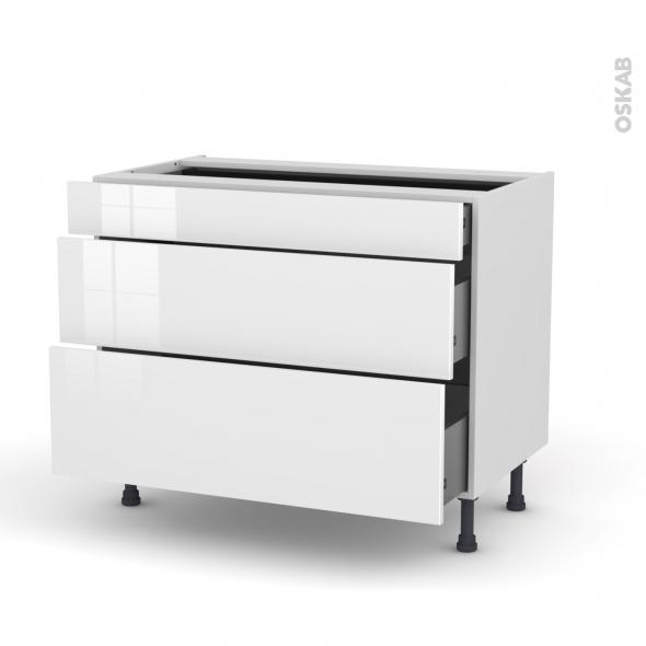 STECIA Blanc - Meuble casserolier - 3 tiroirs - L100xH70xP58