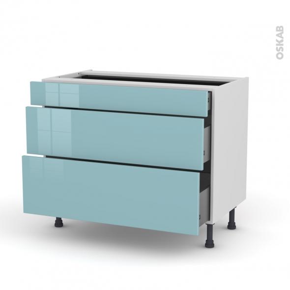 Meuble de cuisine - Casserolier - KERIA Bleu - 3 tiroirs - L100 x H70 x P58 cm