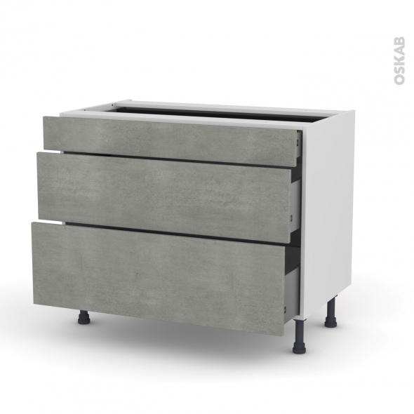 Meuble de cuisine - Casserolier - FAKTO Béton - 3 tiroirs - L100 x H70 x P58 cm
