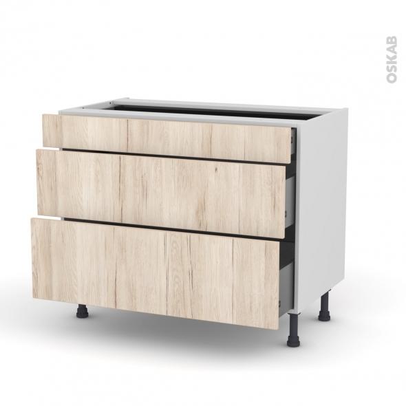 IKORO Chêne clair - Meuble casserolier - 3 tiroirs - L100xH70xP58