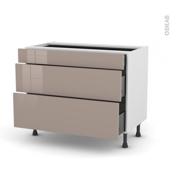 Meuble de cuisine - Casserolier - KERIA Moka - 3 tiroirs - L100 x H70 x P58 cm