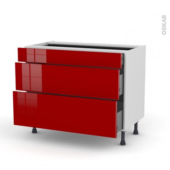 STECIA Rouge - Meuble casserolier - 3 tiroirs - L100xH70xP58