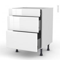 Meuble de cuisine - Casserolier - IRIS Blanc - 3 tiroirs - L60 x H70 x P58 cm