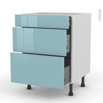 KERIA Bleu - Meuble casserolier  - 3 tiroirs - L60xH70xP58
