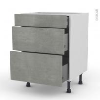 FAKTO Béton - Meuble casserolier  - 3 tiroirs - L60xH70xP58