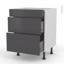 Meuble de cuisine - Casserolier - GINKO Gris - 3 tiroirs - L60 x H70 x P58 cm