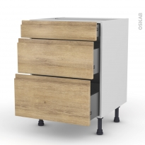 Meuble de cuisine - Casserolier - IPOMA Chêne naturel - 3 tiroirs - L60 x H70 x P58 cm