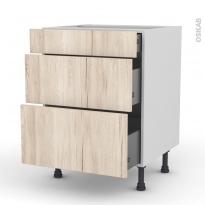 IKORO Chêne clair - Meuble casserolier  - 3 tiroirs - L60xH70xP58