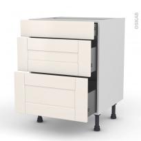 Meuble de cuisine - Casserolier - FILIPEN Ivoire - 3 tiroirs - L60 x H70 x P58 cm