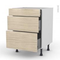 Meuble de cuisine - Casserolier - STILO Noyer Blanchi - 3 tiroirs - L60 x H70 x P58 cm