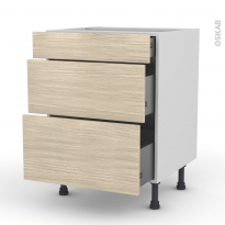 STILO Noyer Blanchi - Meuble casserolier  - 3 tiroirs - L60xH70xP58