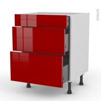 Meuble de cuisine - Casserolier - STECIA Rouge - 3 tiroirs - L60 x H70 x P58 cm