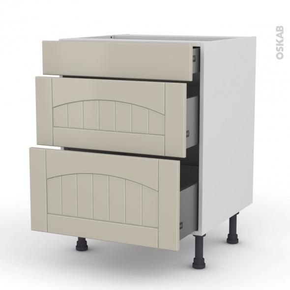 SILEN Argile - Meuble casserolier  - 3 tiroirs - L60xH70xP58