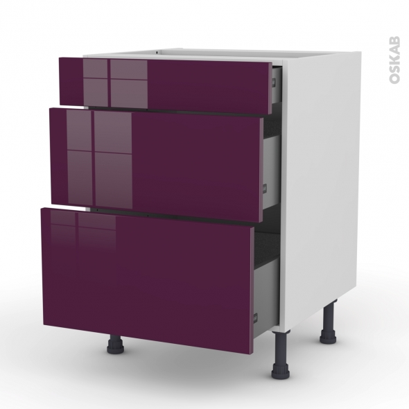 Meuble de cuisine - Casserolier - KERIA Aubergine - 3 tiroirs - L60 x H70 x P58 cm