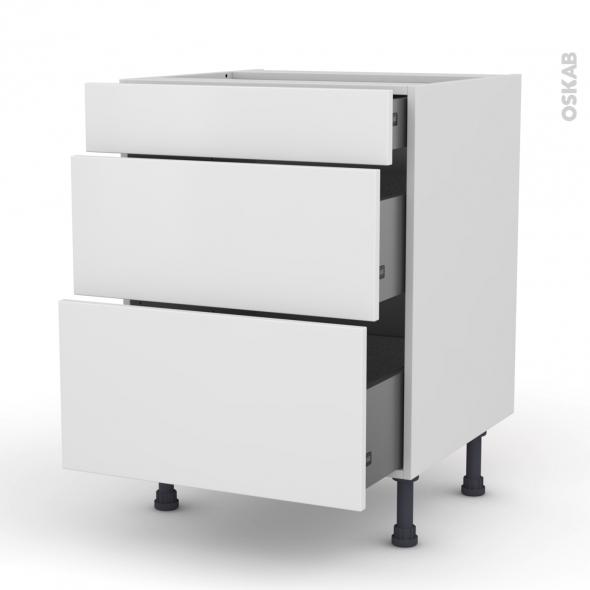Meuble de cuisine - Casserolier - GINKO Blanc - 3 tiroirs - L60 x H70 x P58 cm