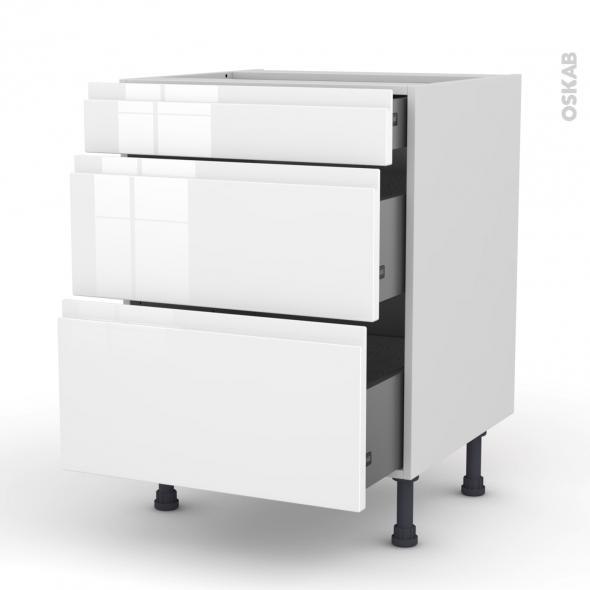 Meuble de cuisine - Casserolier - IPOMA Blanc brillant - 3 tiroirs - L60 x H70 x P58 cm