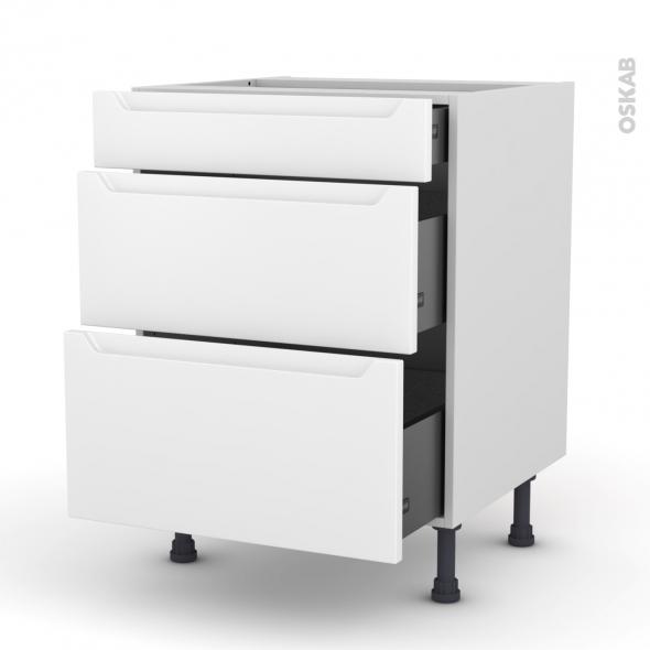 Meuble de cuisine - Casserolier - PIMA Blanc - 3 tiroirs - L60 x H70 x P58 cm