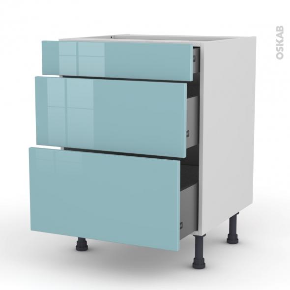 Meuble de cuisine - Casserolier - KERIA Bleu - 3 tiroirs - L60 x H70 x P58 cm