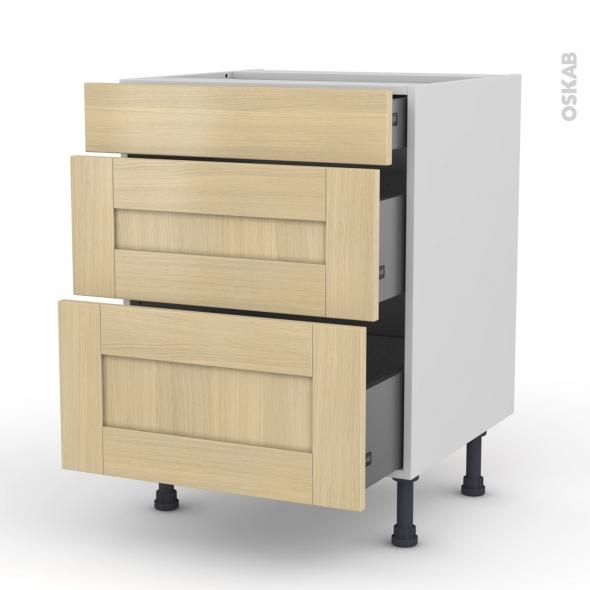 BASILIT Bois Vernis - Meuble casserolier  - 3 tiroirs - L60xH70xP58