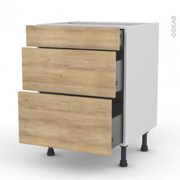 HOSTA Chêne naturel - Meuble casserolier  - 3 tiroirs - L60xH70xP58