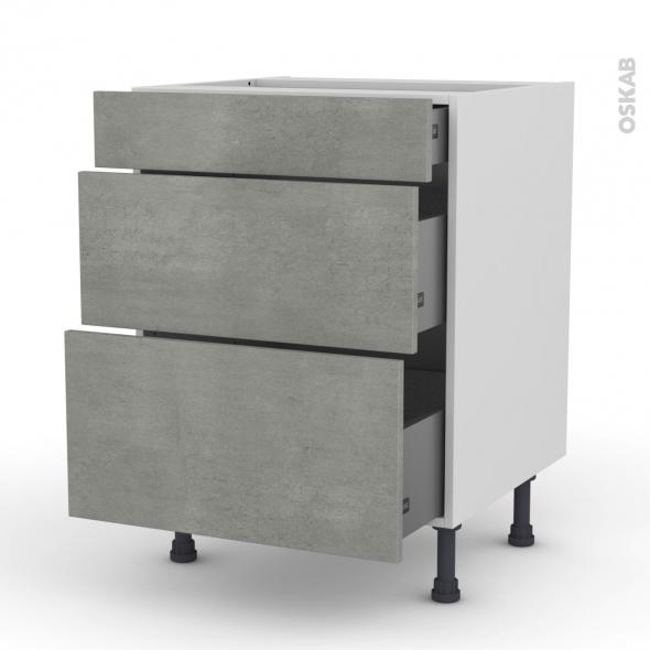 Meuble de cuisine - Casserolier - FAKTO Béton - 3 tiroirs - L60 x H70 x P58 cm