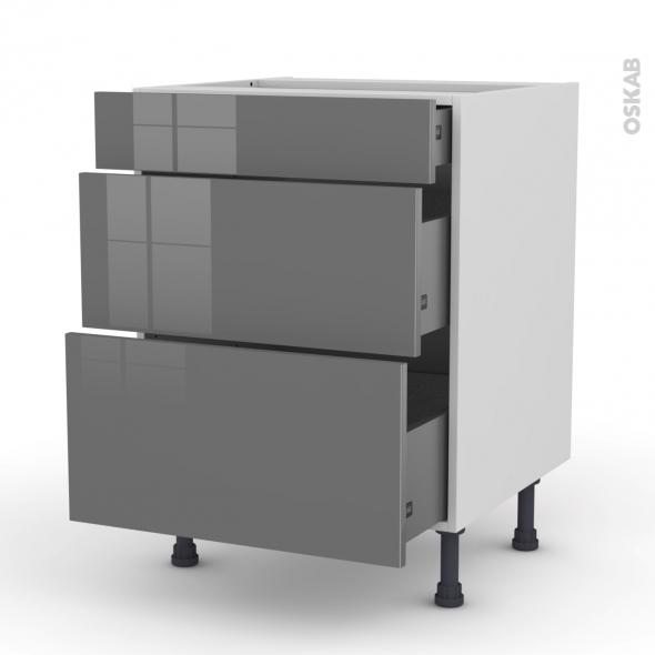 STECIA Gris - Meuble casserolier  - 3 tiroirs - L60xH70xP58