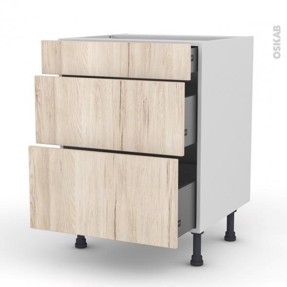 Meuble de cuisine - Casserolier - IKORO Chêne clair - 3 tiroirs - L60 x H70 x P58 cm